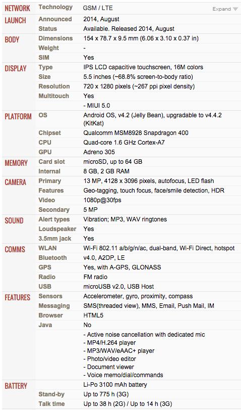Redmi Note 4G Spec